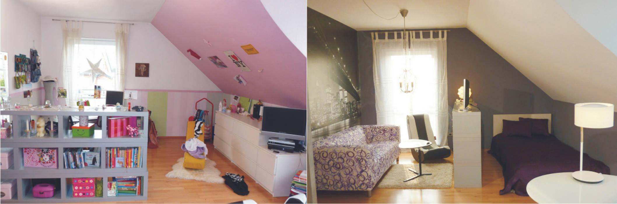 Umbau Jugendzimmer vorher-nachher Einrichtungsideen Moderne Kinderzimmer