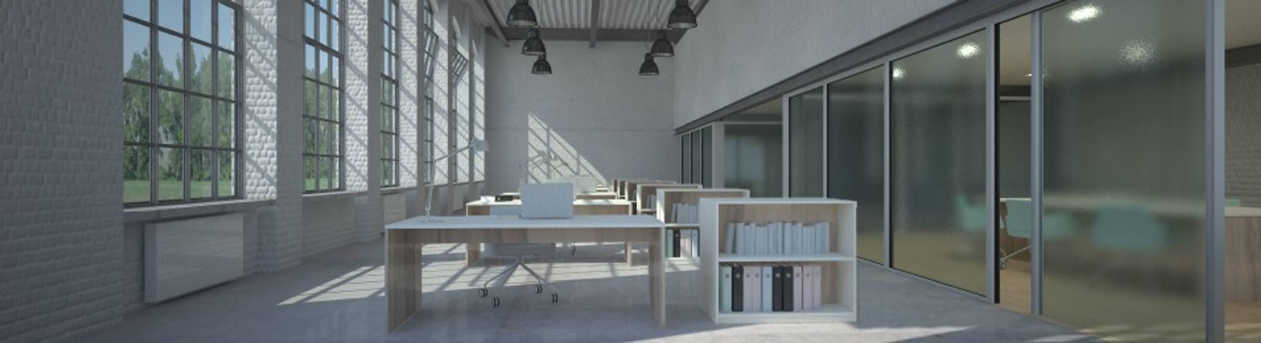 Büro mit Tischen und Regalen nach Maß: moderne Arbeitszimmer von Möbelmanufaktur Grube Carl GmbH