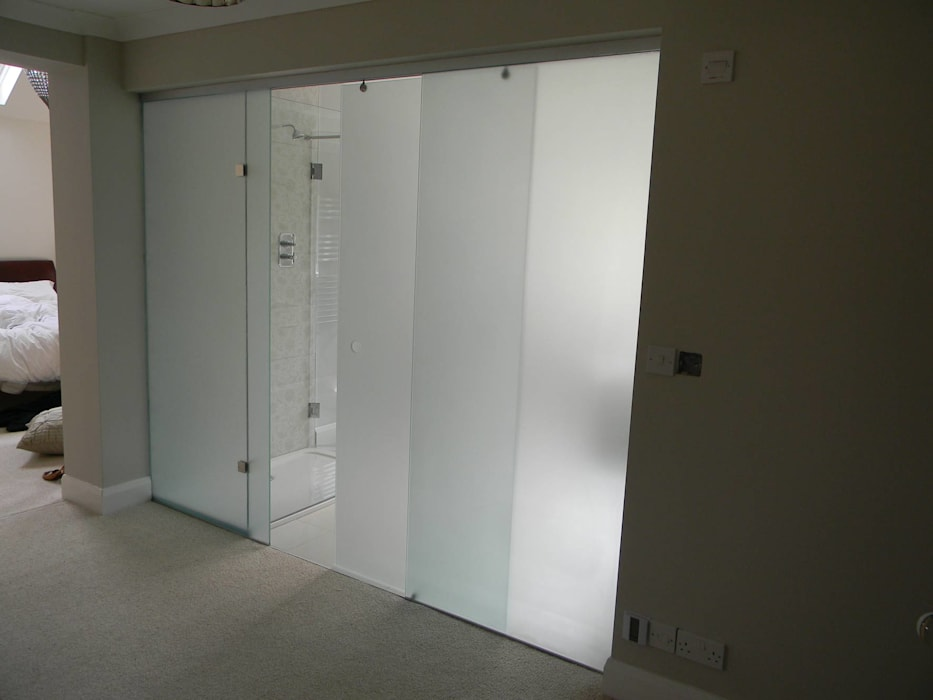 Frosted Glass Sliding Door partition in Cambridge by Go Glass Ltd Modern