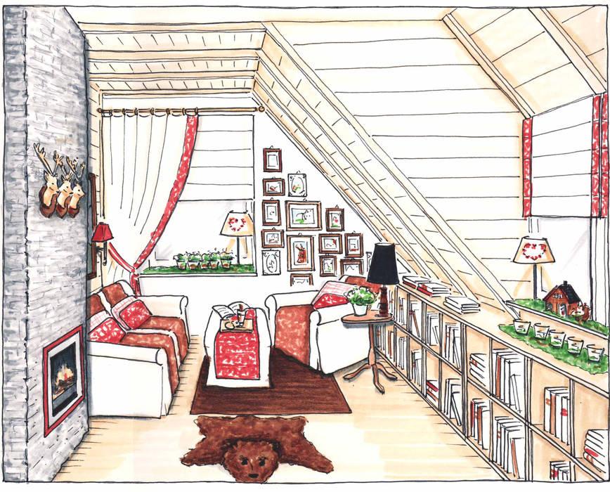 Perspektive eines Hüttenzaubers Ausgefallene Wohnzimmer von Innenarchitektin Claudia Haubrock Ausgefallen