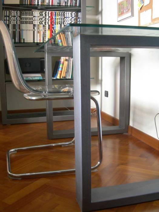 Libreria E Scrivania Per Studio.Scrivania E Libreria In Ferro E Vetro Studio In Stile Di Studio