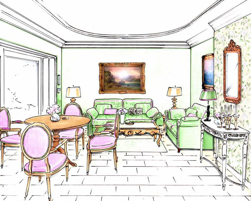 Perpektive Gartenzimmer:  Wohnzimmer von Innenarchitektin Claudia Haubrock