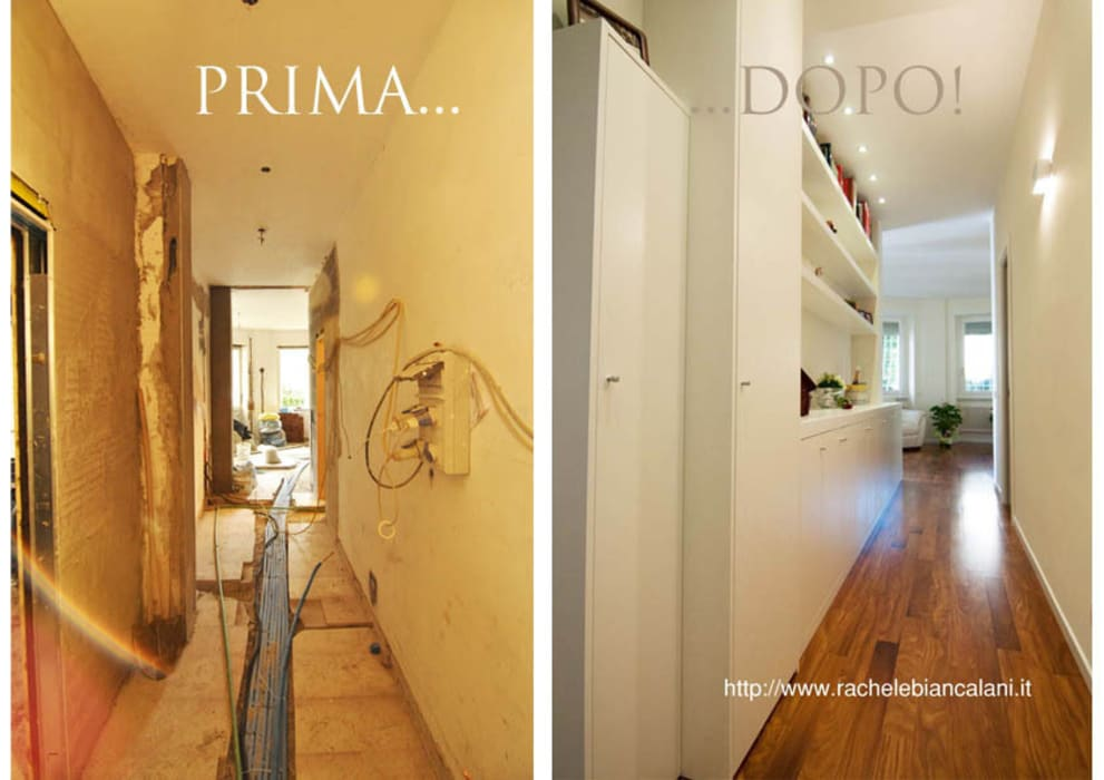 Prima e dopo Ingresso, Corridoio & Scale in stile moderno di Rachele Biancalani Studio Moderno
