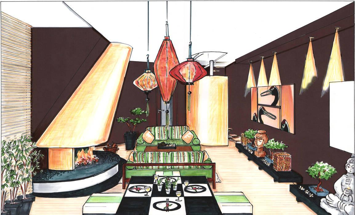 Perspektive Wohnbereich asiatisches Wohnzimmer Asiatische Wohnzimmer von Innenarchitektin Claudia Haubrock Asiatisch