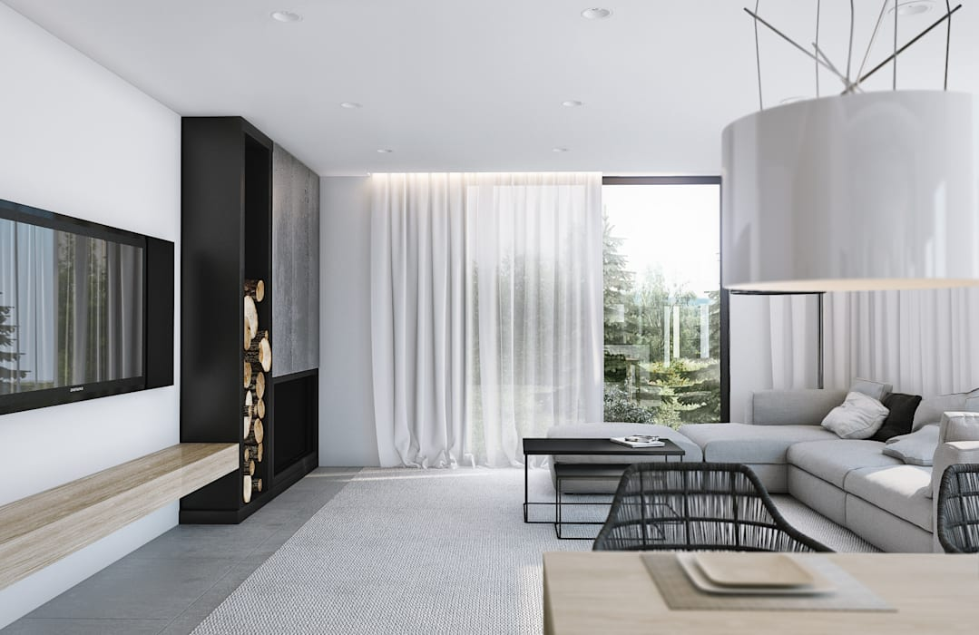 Salas / recibidores de estilo  por Angelina Alekseeva, Minimalista