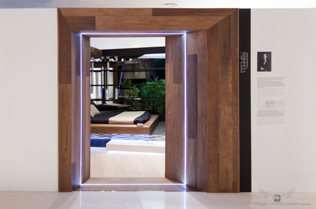 Dormitorio Suite Hotel Material Noble Diseño de ferias de estilo ecléctico de MANUEL TORRES DESIGN Ecléctico