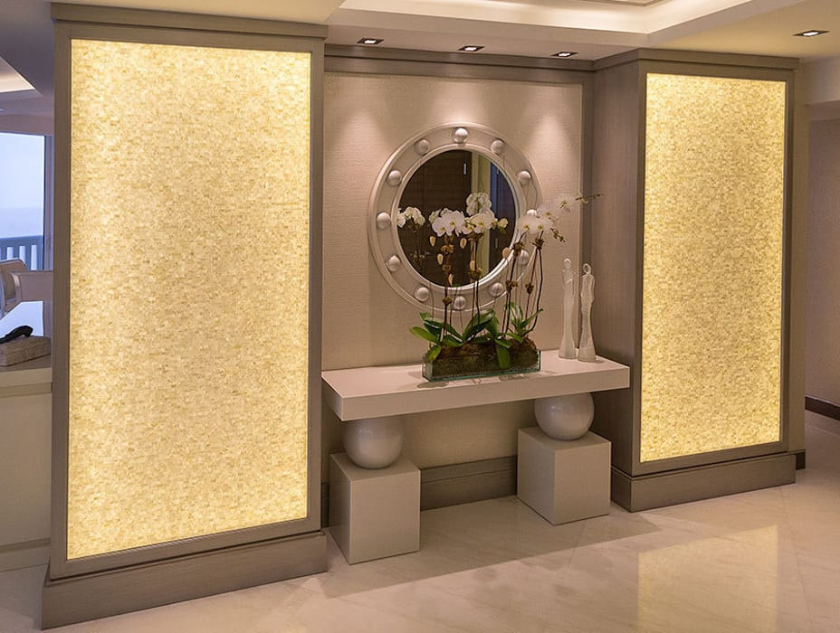 ​Pure White seamless brick freshwater back lit mother of pearl mosaic panels: modern Living room by ShellShock Designs