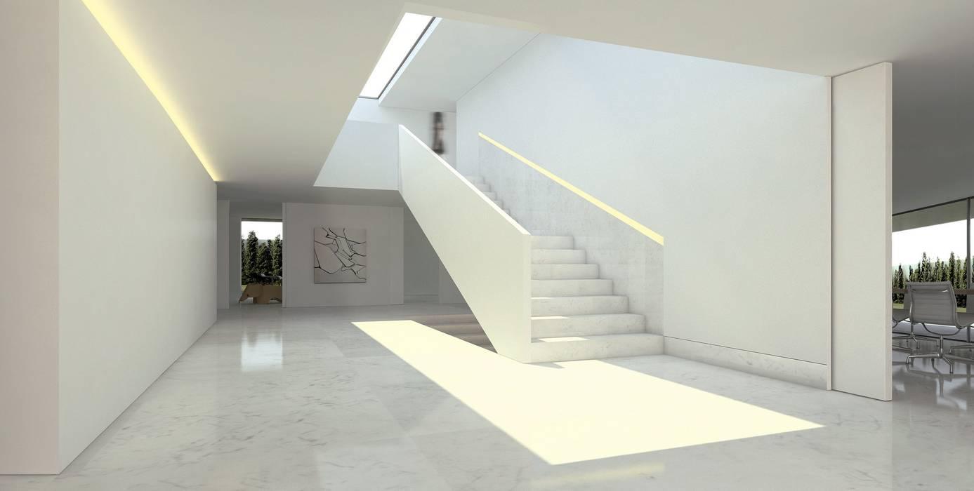 Casa de Aluminio. Fran Silvestre Arquitectos FRAN SILVESTRE ARQUITECTOS Pasillos, vestíbulos y escaleras de estilo minimalista Blanco