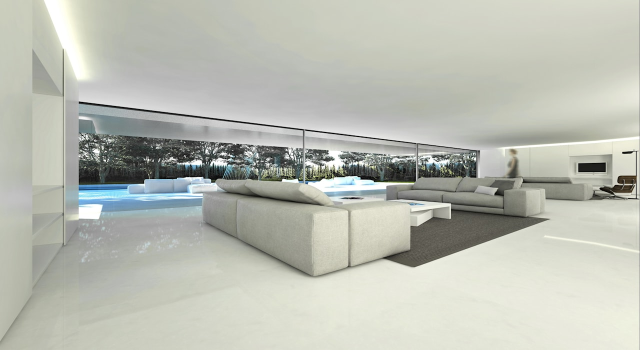 Casa de Aluminio. Fran Silvestre Arquitectos: Salones de estilo  de FRAN SILVESTRE ARQUITECTOS