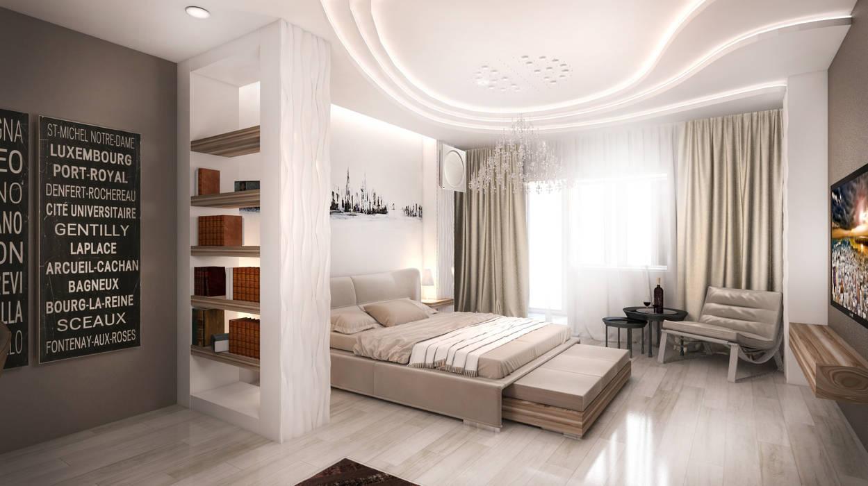 Квартира в Ж/К Центральный г. Краснодар: Спальни в . Автор – Студия Маликова, Минимализм