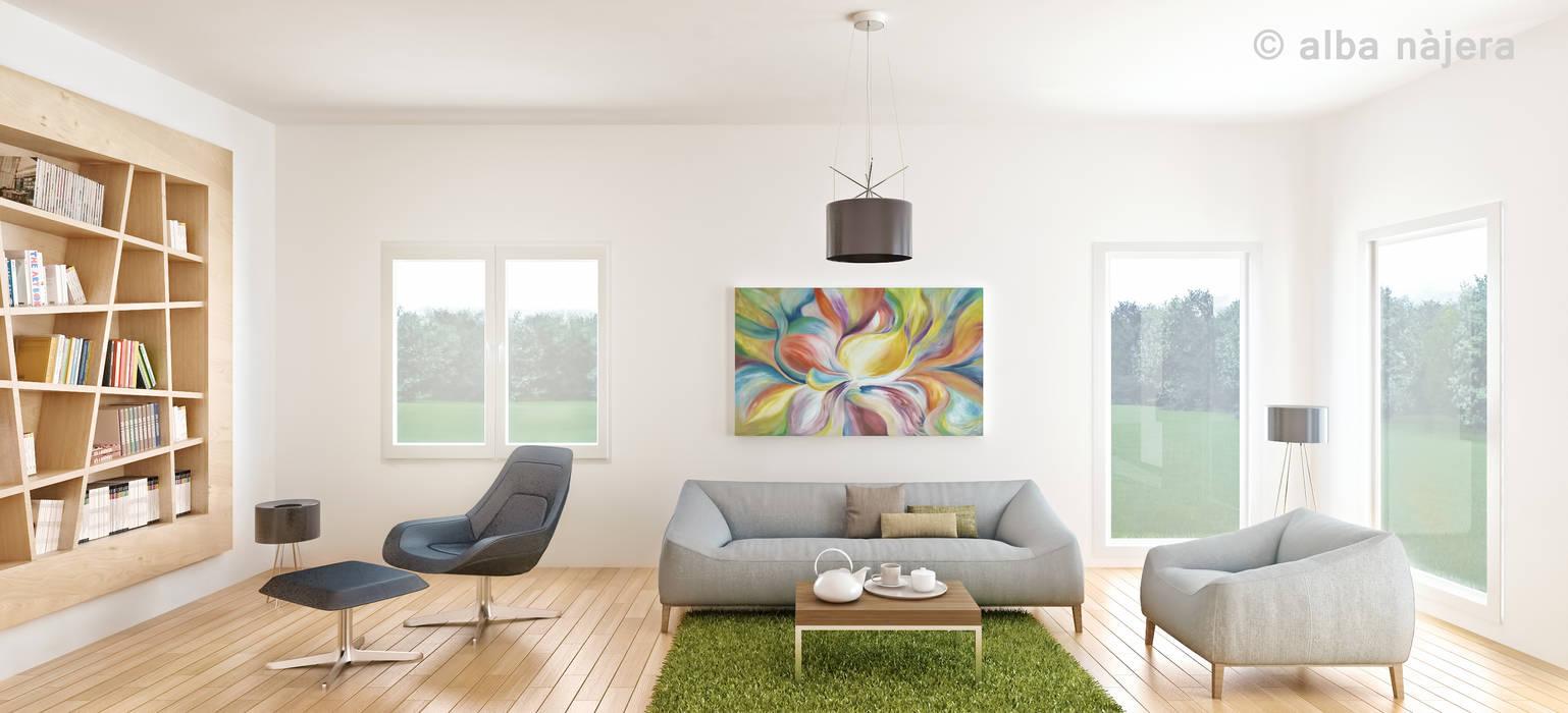 CG 3D DISEÑO DE UN INTERIOR Salones de estilo moderno de alba najera Moderno