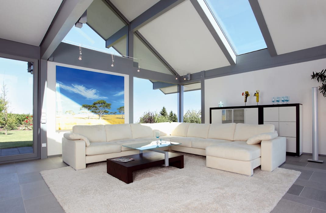 Satteldachhaus in Hannover Moderne Wohnzimmer von DAVINCI HAUS GmbH & Co. KG Modern
