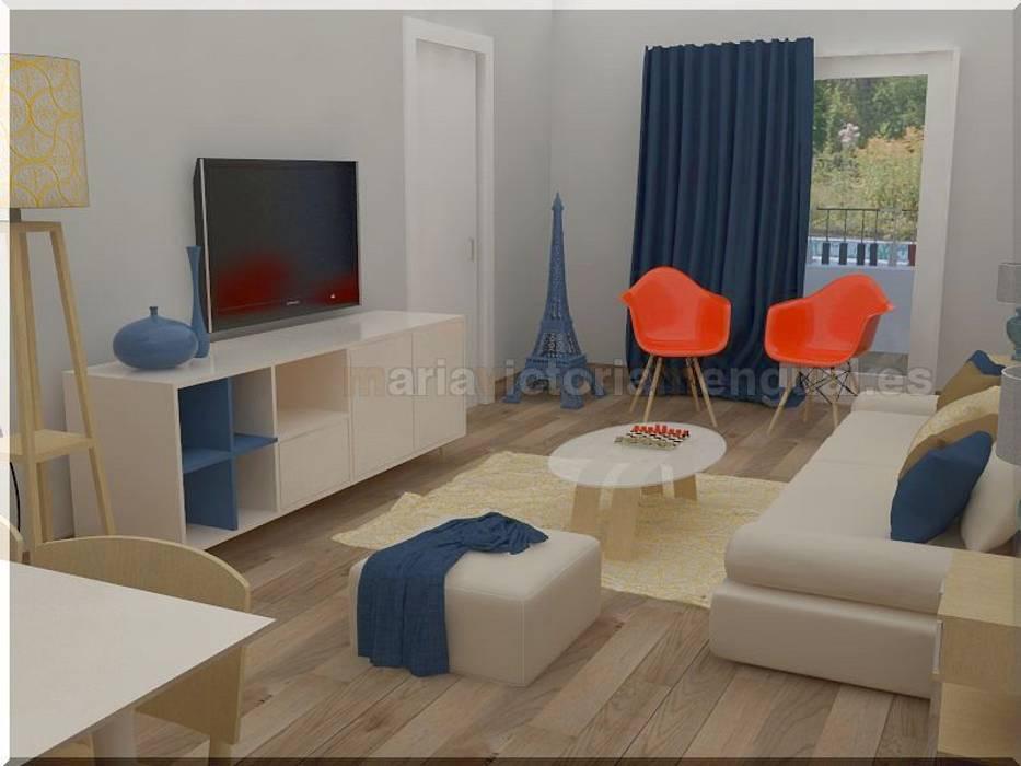 Combinación de azul, naranja y grises. Comedores de estilo ecléctico de MUMARQ ARQUITECTURA E INTERIORISMO Ecléctico