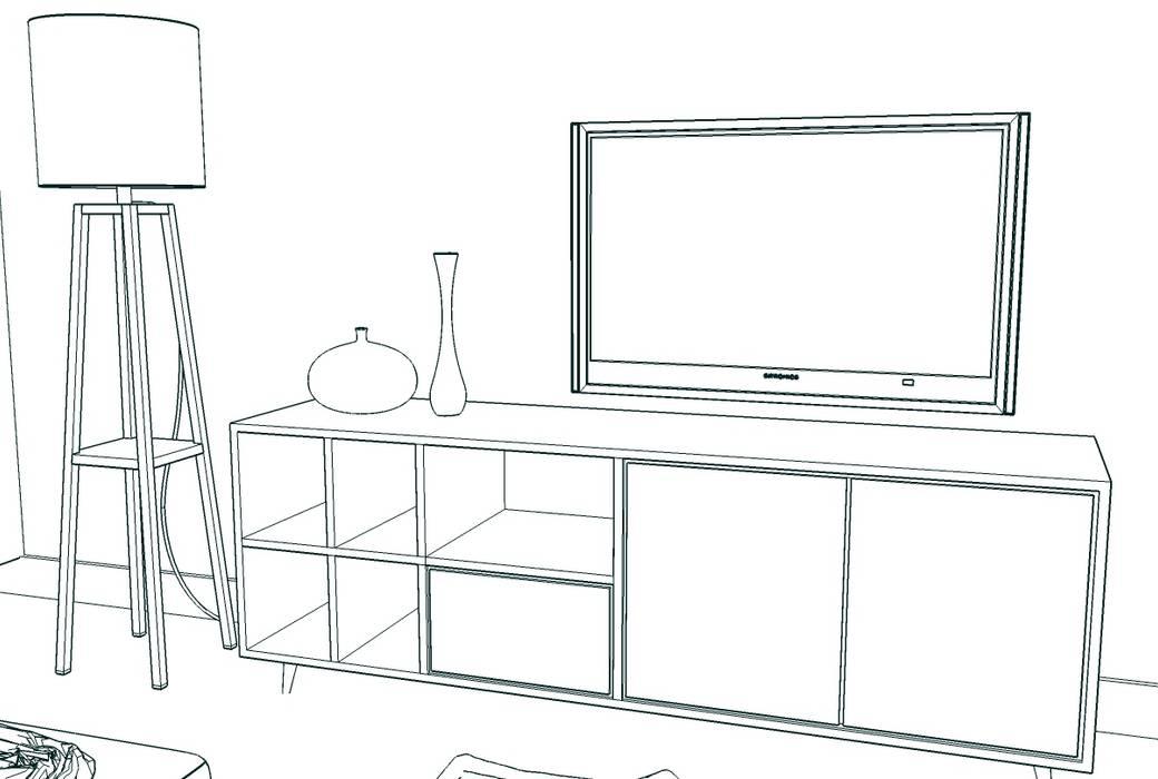 Boceto de mueble de televisión. : Comedores de estilo ecléctico de MUMARQ ARQUITECTURA E INTERIORISMO