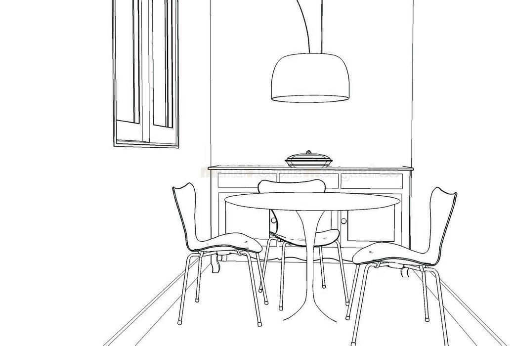 Boceto de zona en cocina para mesa.: Comedores de estilo  de MUMARQ ARQUITECTURA E INTERIORISMO