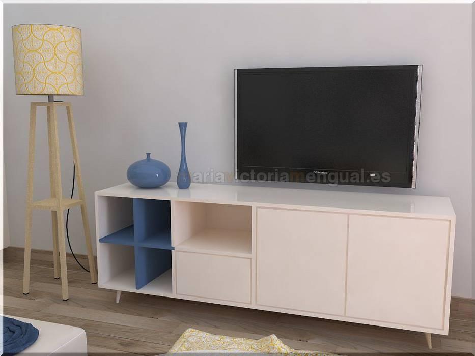 Mueble de televisión diseñado para el cliente.: Salones de estilo ecléctico de MUMARQ ARQUITECTURA E INTERIORISMO