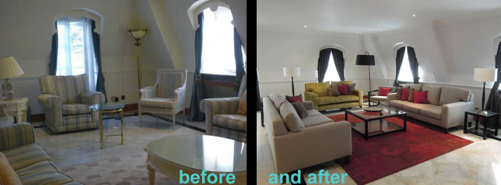 Before and after:  Living room by SlightlyQuirky ltd