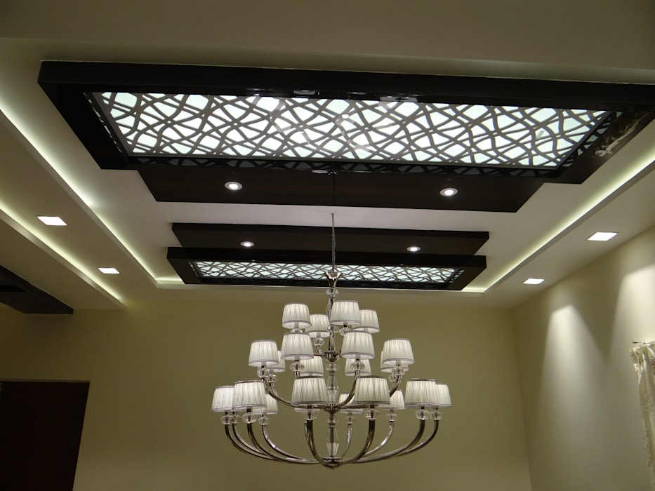Mdf Grill Board In Double Height Ceiling Corridor
