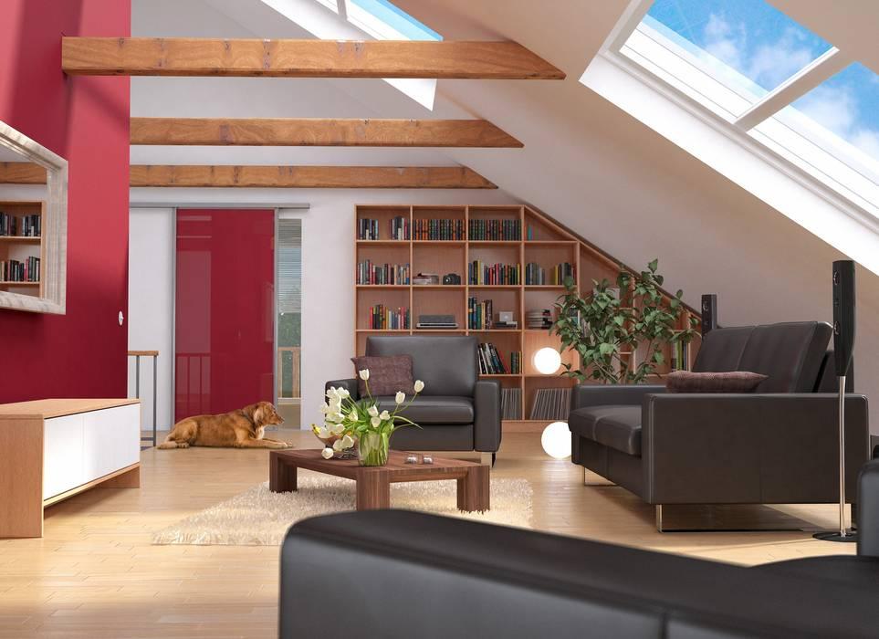 Wohnzimmer im Dachgeschoss: moderne Wohnzimmer von deinSchrank.de GmbH