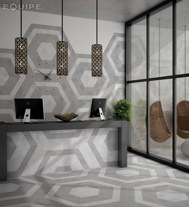 Rhombus White, Dark Grey 14x24: Paredes de estilo  de Equipe Ceramicas