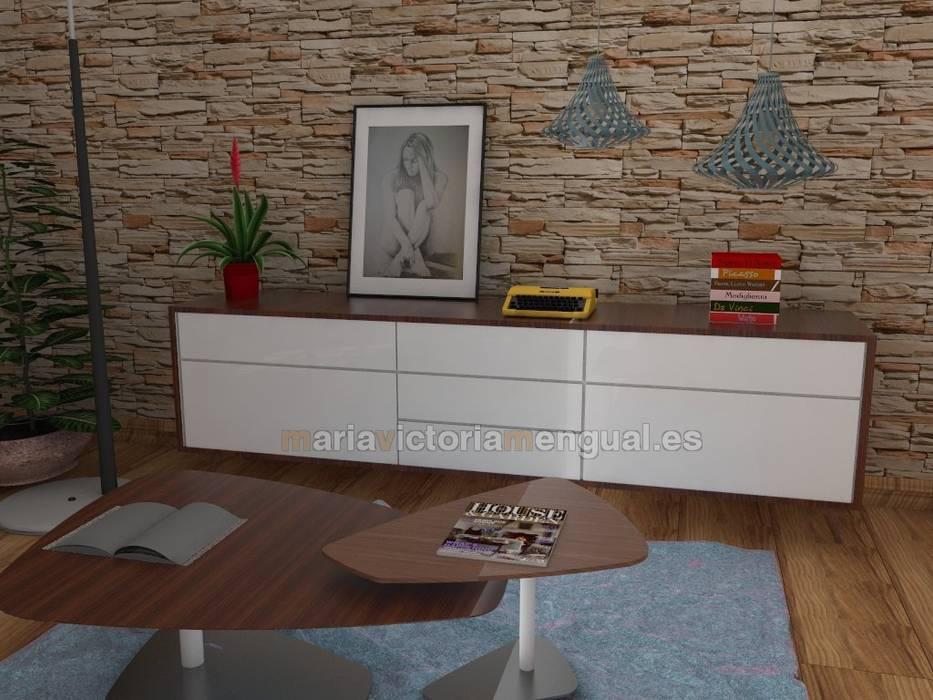 Mueble auxiliar y para televisión. MUMARQ ARQUITECTURA E INTERIORISMO Salones de estilo ecléctico