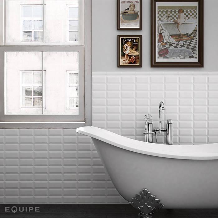 Metro White 7,5x15: Baños de estilo moderno de Equipe Ceramicas