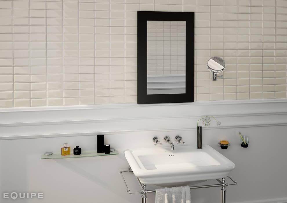 Metro Cream 7,5x15: Baños de estilo moderno de Equipe Ceramicas