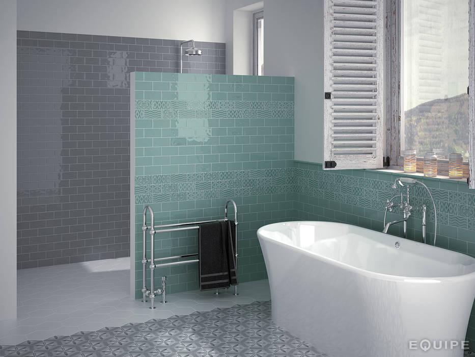 Masia Gris Oscuro, Jade, Decor Jewel Jade 7,5x15: Baños de estilo rústico de Equipe Ceramicas