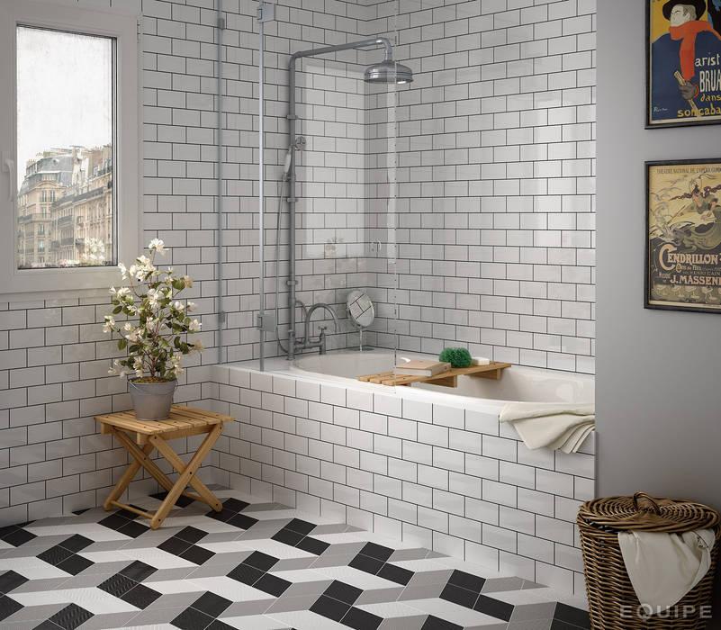 Rhombus 3D / White, Dark Grey, Black 14x24: Baños de estilo moderno de Equipe Ceramicas