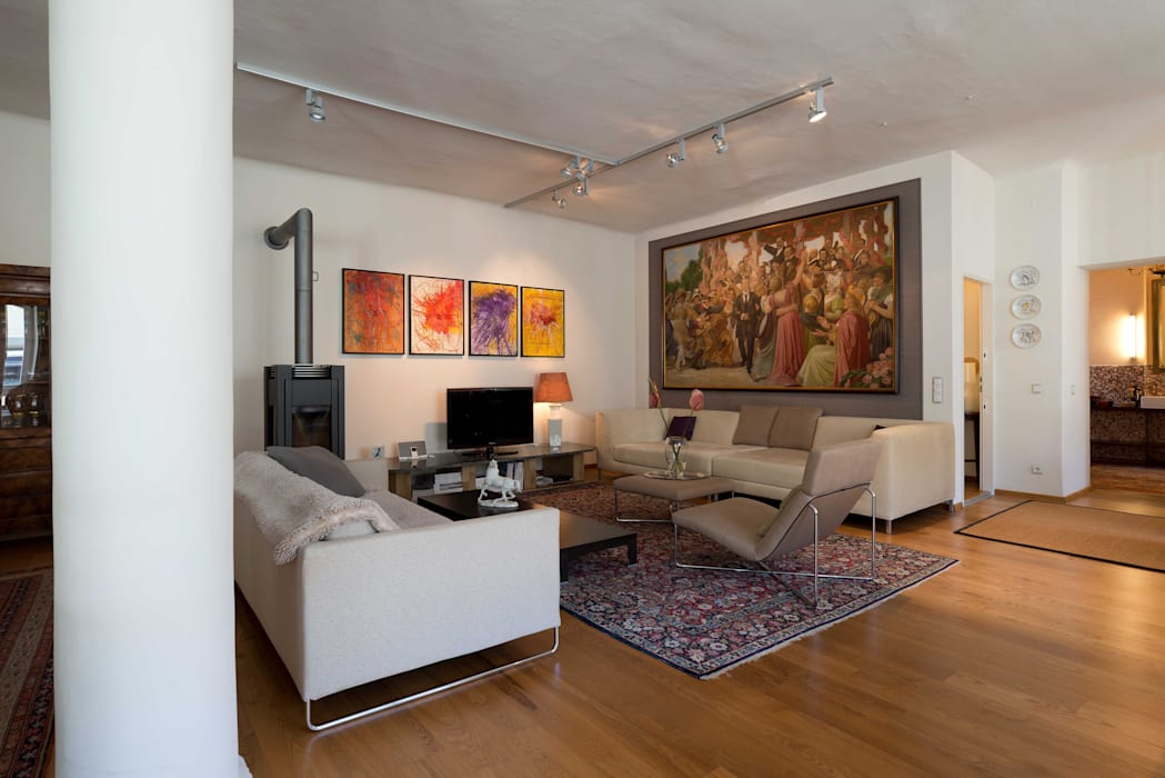 Loft Wohnbereich Ausgefallene Wohnzimmer von Elke Altenberger Interior Design & Consulting Ausgefallen