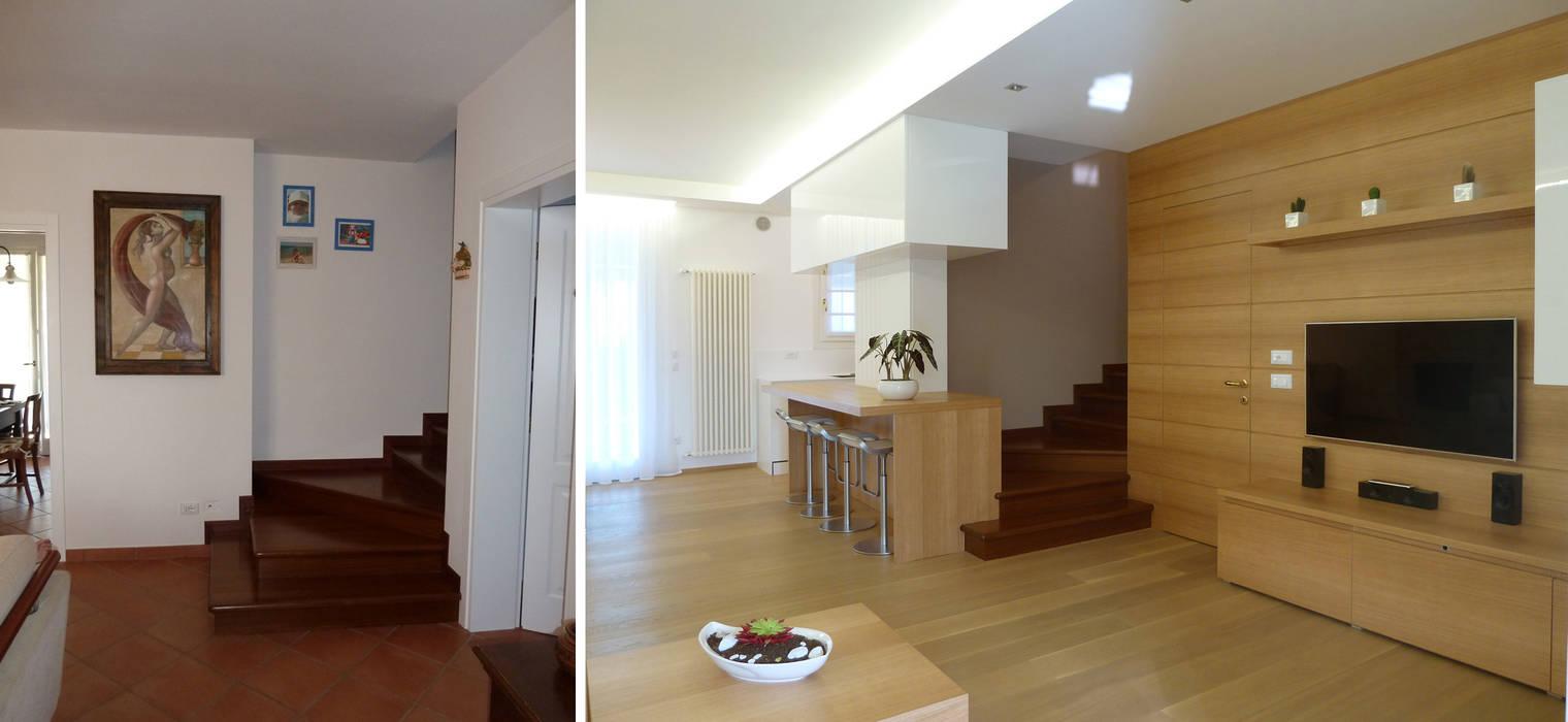 Vista dall'ingresso prima e dopo: Soggiorno in stile  di Studio Massimo Rinaldo architetto