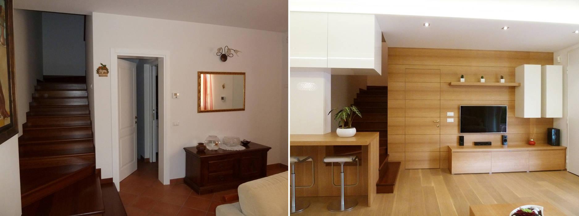 La scala e l'ingresso prima e dopo Soggiorno moderno di Studio Massimo Rinaldo architetto Moderno