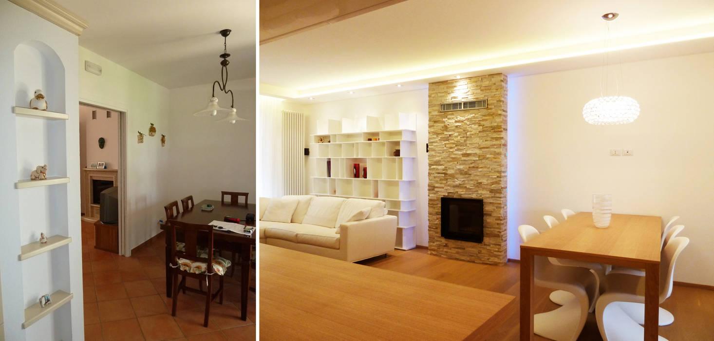 Il pranzo prima e dopo Soggiorno moderno di Studio Massimo Rinaldo architetto Moderno