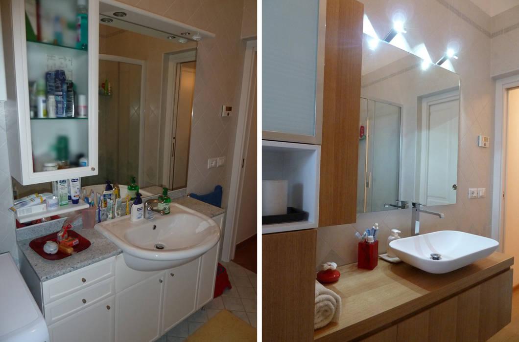 Il bagno prima e dopo Soggiorno moderno di Studio Massimo Rinaldo architetto Moderno