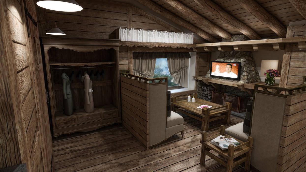 Cucina E Soggiorno Rustico cascina di montagna soggiorno in stile rustico di