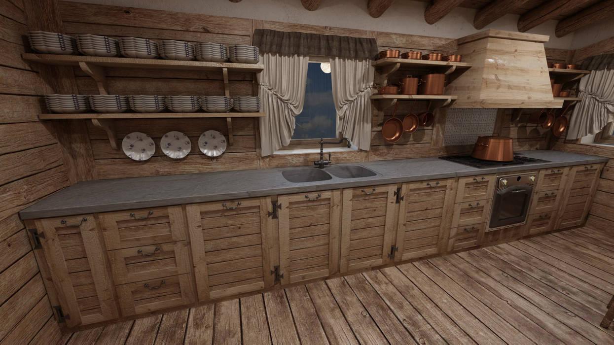 Cascina di montagna: cucina in stile in stile rustico di ...
