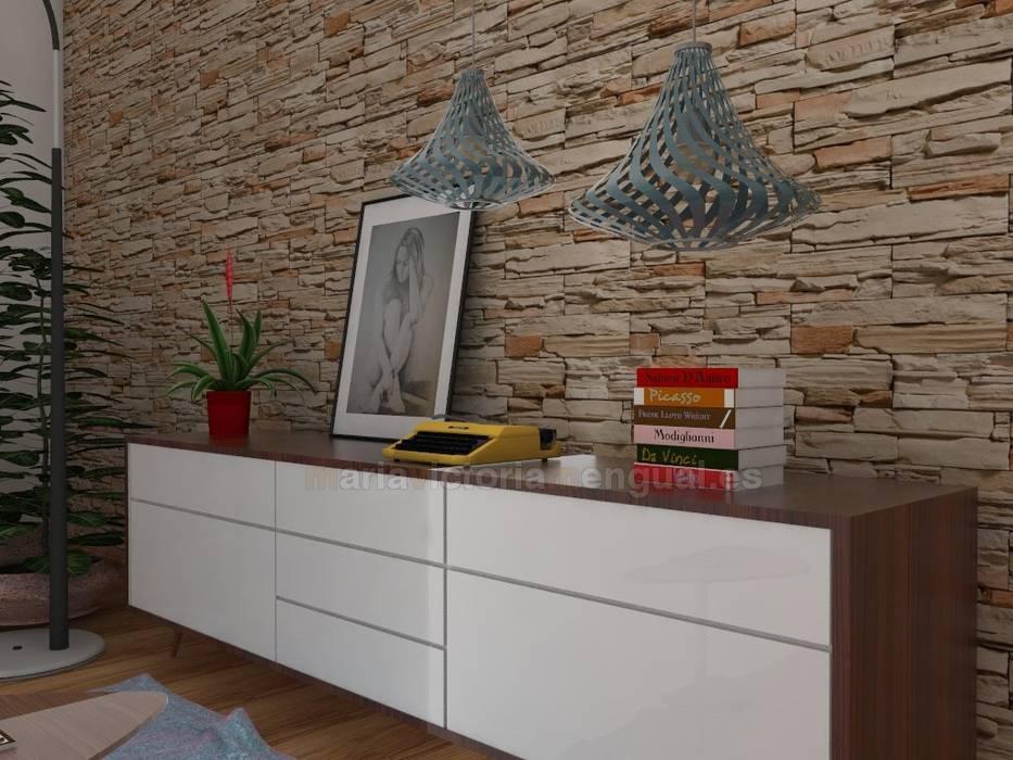 Mueble diseñado en nuestro estudio. : Salones de estilo ecléctico de MUMARQ ARQUITECTURA E INTERIORISMO