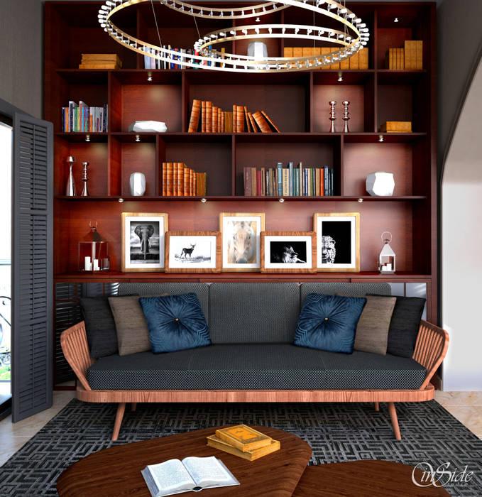 Study Shelves:  Study/office by Inside Studio Ltd