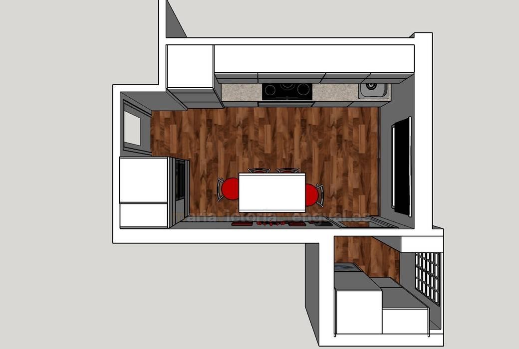 Plano de planta de cocina en 3D: Cocinas de estilo moderno de MUMARQ ARQUITECTURA E INTERIORISMO