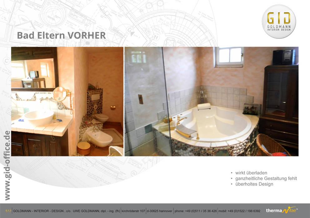Vorher:  Badezimmer von GID│GOLDMANN-INTERIOR-DESIGN - Innenarchitekt in Sehnde