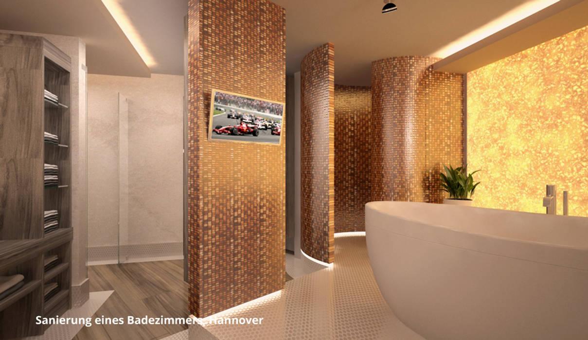 3D-Visualisierung Badsanierung Moderne Badezimmer von GID│GOLDMANN-INTERIOR-DESIGN - Innenarchitekt in Sehnde Modern