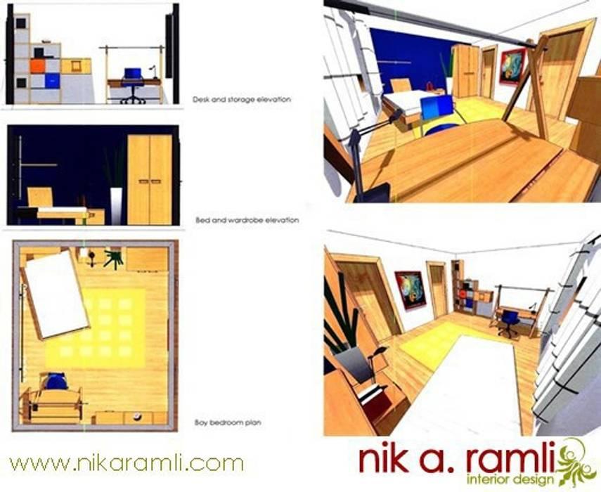 12 Year Old Boy Bedroom:  Bedroom by Nik A Ramli Interior Design