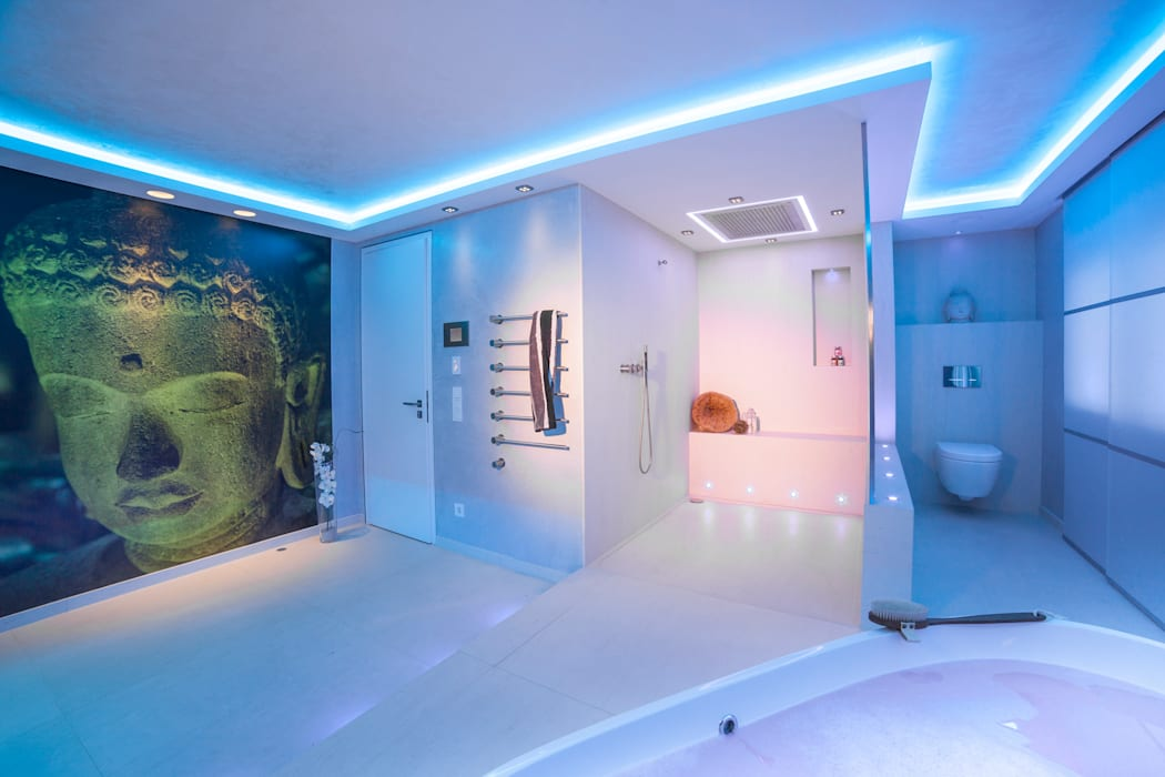 Baddesign für die Sinne aus Naturstein mit Lichtdesign der extraklasse Led RGB Design by Torsten Müller Ausgefallene Badezimmer