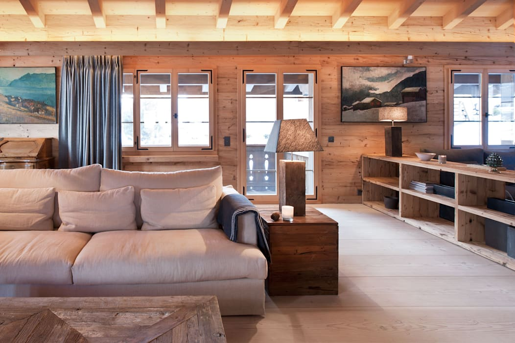 Chalet Gstaad Ardesia Design Rustic style living room