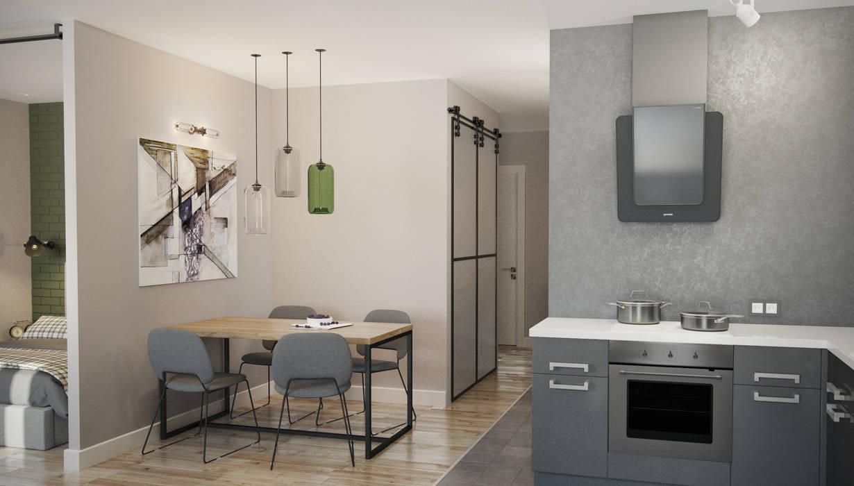 трехкомнатная квартира Кухня в стиле лофт от цуккини Лофт