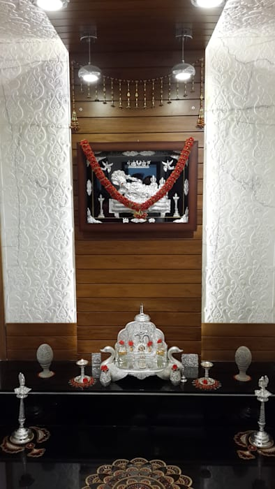Pooja room wall with Carved Marble cladding Hasta architects Modern corridor, hallway & stairs