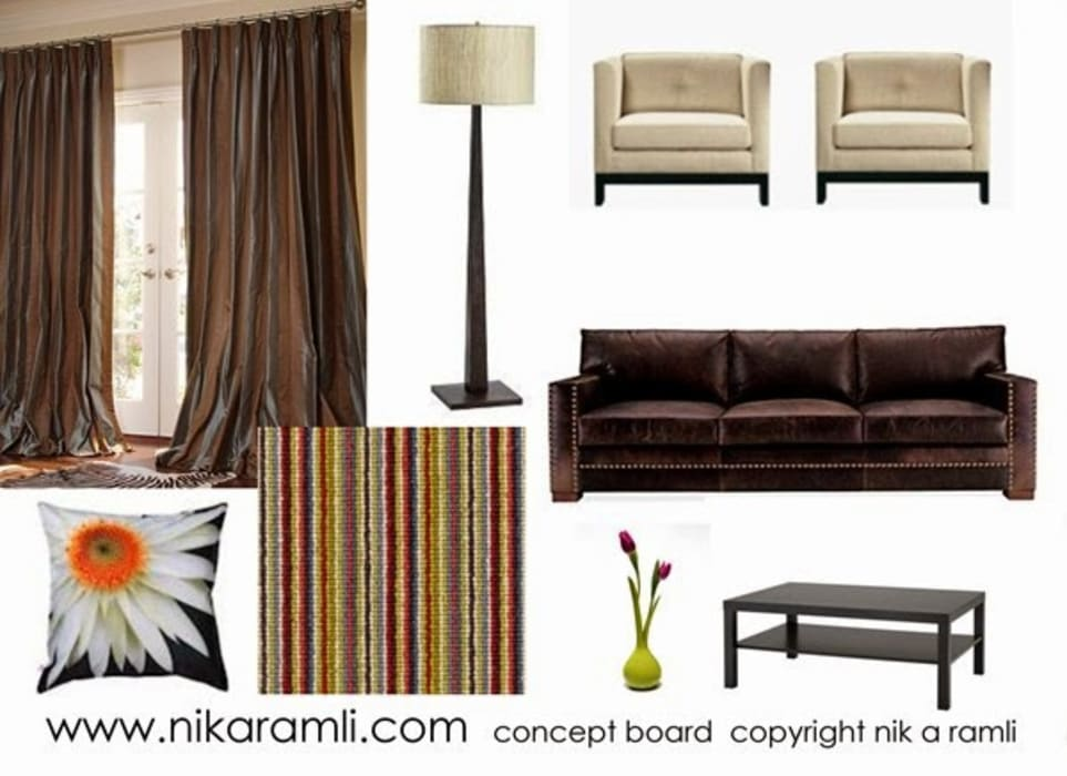 Mood Board: modern Living room by Nik A Ramli Interior Design