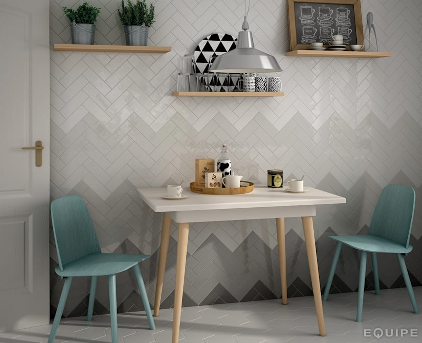 Country Anthracite, Graphite, Grey Pearl, Gris Claro, Blanco 6,5x20 Cocinas de estilo moderno de Equipe Ceramicas Moderno Azulejos