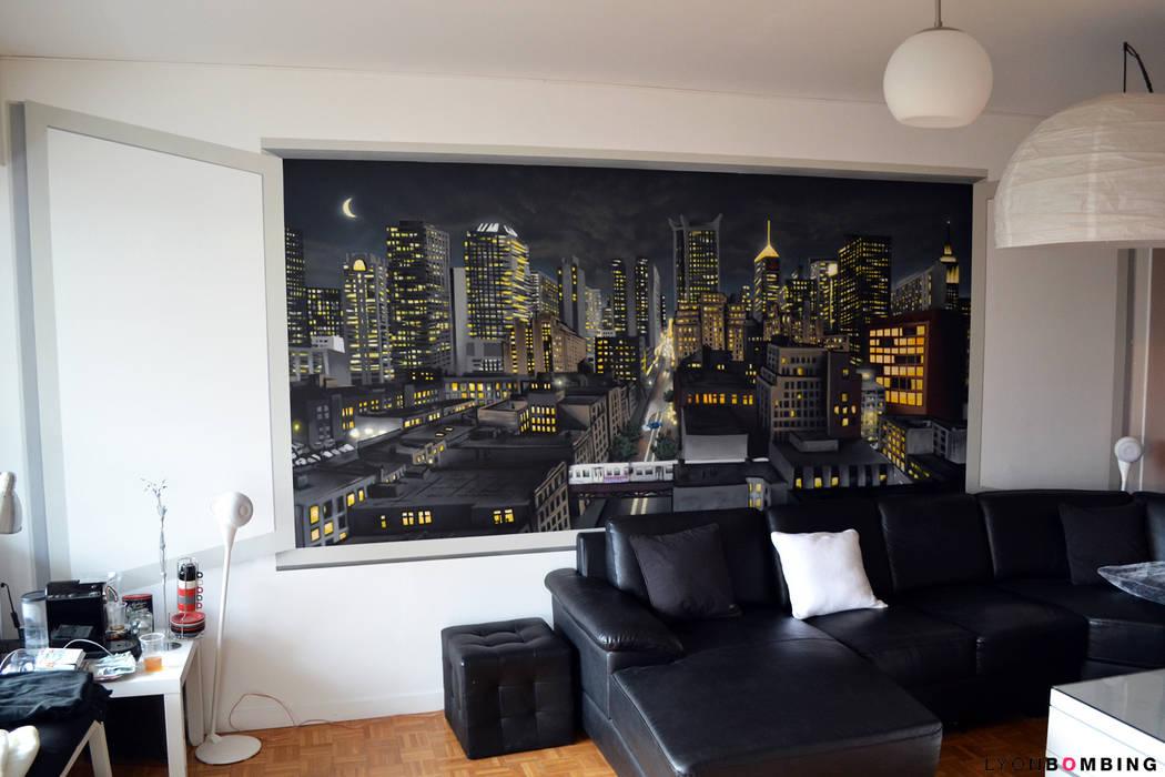 Vue urbaine en trompe l'oeil: Salon de style  par Lyonbombing, Moderne