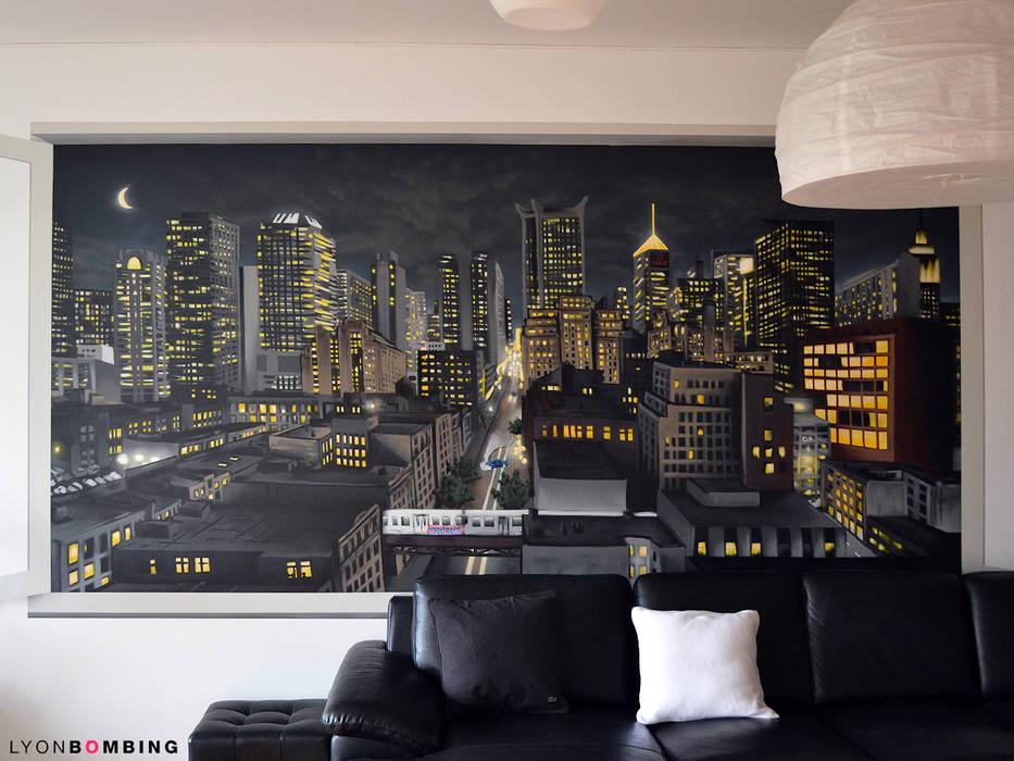 Vue urbaine de nuit: Salon de style  par Lyonbombing, Moderne
